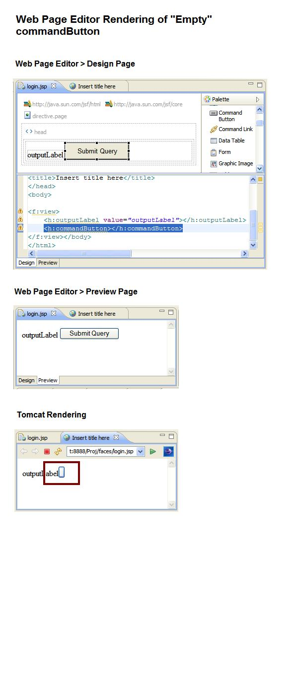 258889 – [WPE] Web Page Editor does not render runtime equivalent of