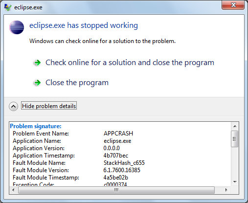 315009 – Restart workbench crashes on Windows 7
