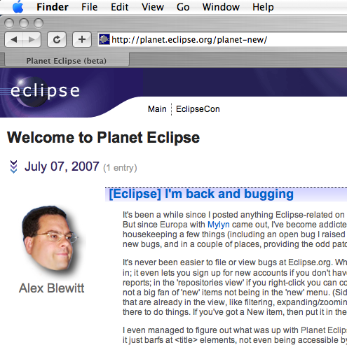 Screenshot of Planet Eclipse titles on Safari